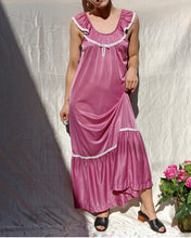 Load image into Gallery viewer, 1970s Violet Tiered Prairie Maxi Slip Dress