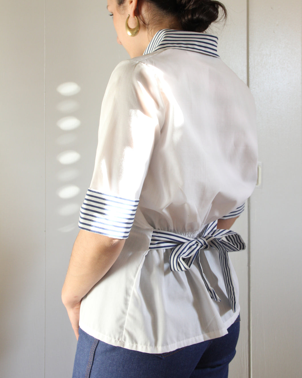 1970s Navy & White Sailor Style  Striped Collared Top
