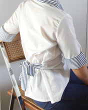 Load image into Gallery viewer, 1970s Navy & White Sailor Style  Striped Collared Top