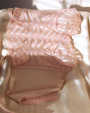 Load image into Gallery viewer, 1970s Pink Stripped Semi Sheer Corset & Detachable Garters