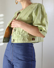 Load image into Gallery viewer, 1980s Sage Green Button Down Crop Top