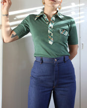 Load image into Gallery viewer, 1970s Wrangler Green Plaid Collar Polo Top