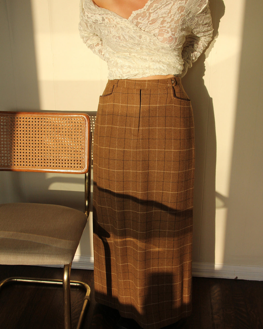 1970s Harold's Plaid Wool Maxi Skirt