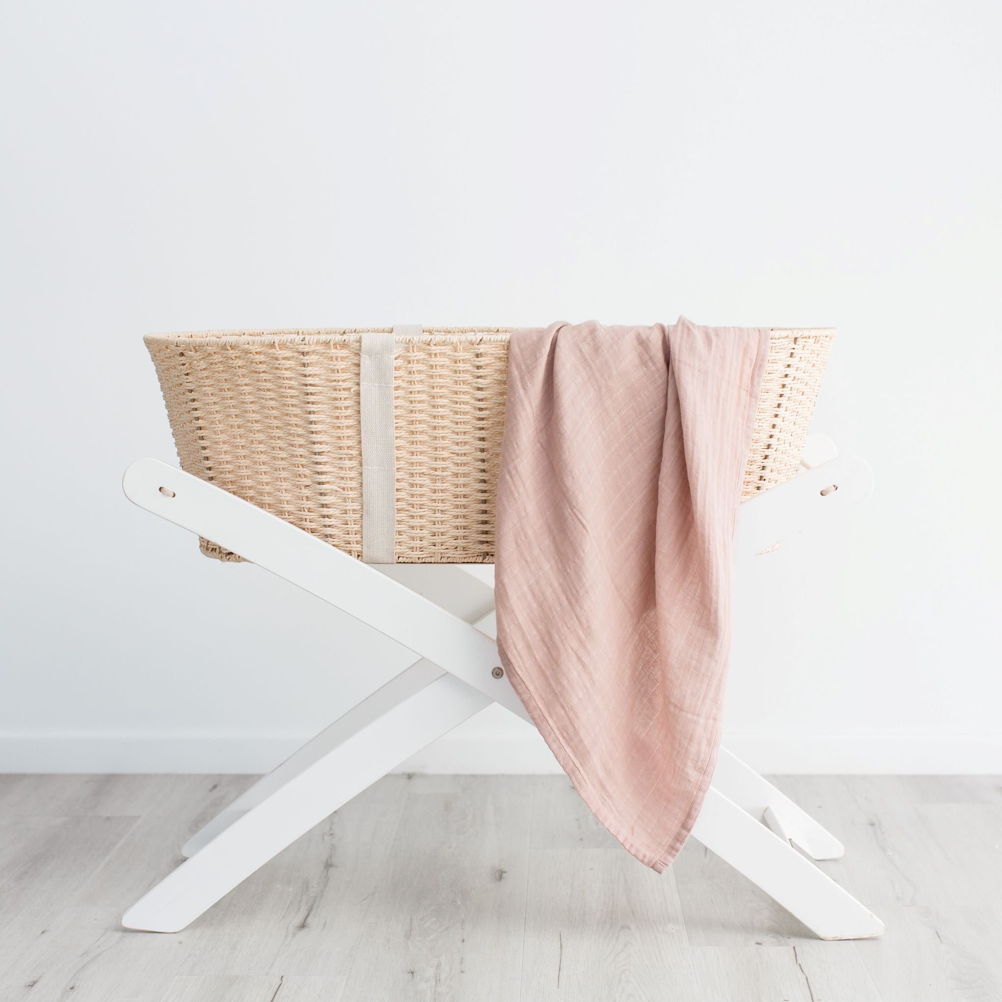 Organic cotton muslin swaddle wrap - Dusty Pink