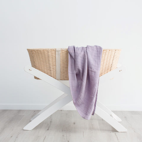 Organic cotton muslin swaddle wrap - Little Lilac