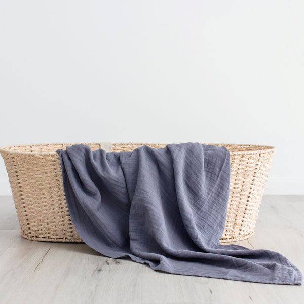 Organic cotton muslin swaddle wrap - Stormy Blue