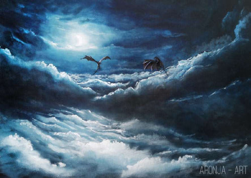 Aronja-Art Print: Above the Clouds, Dragons flying at night sky above a fullmoon