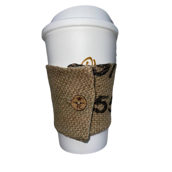 Stylish coffee cup sleeve with authentic coffee farm print from THE COFFEE JACKET