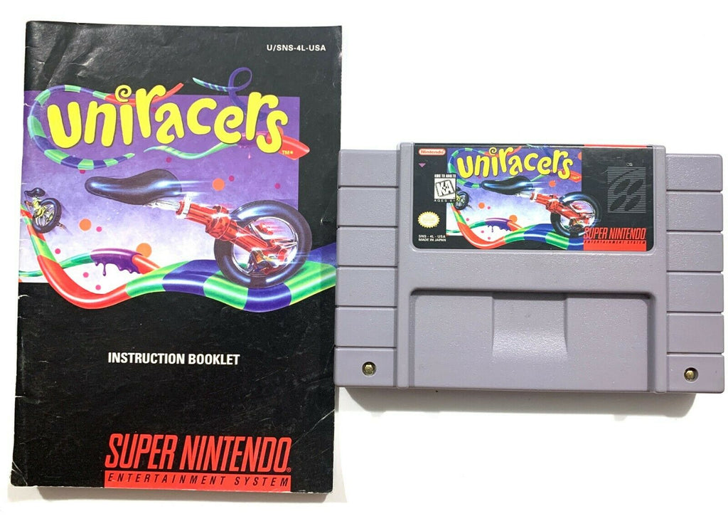 Uniracers - Super Nintendo SNES Game w/ Instruction Manual - Tested & Working!