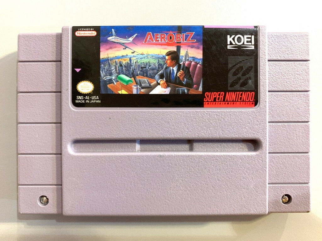 RARE! Aerobiz SUPER NINTENDO SNES GAME Tested WORKING Authentic!