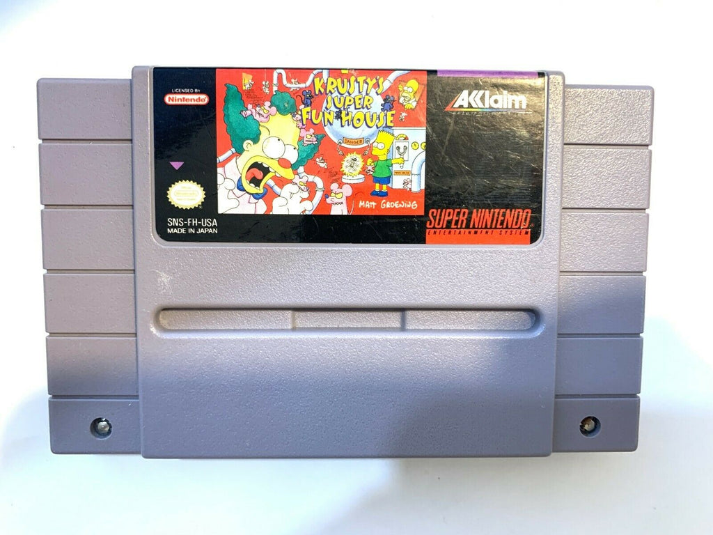 Krusty's Super Fun House SUPER NINTENDO SNES GAME Tested + Working & AUTHENTIC!