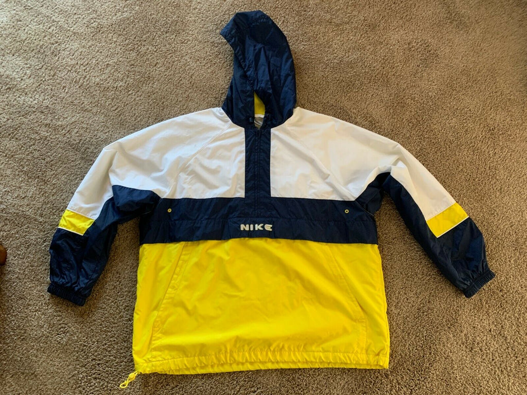 Nike Mens Track Jacket Wind Hooded Breaker XL Navy White & Yellow Vintage