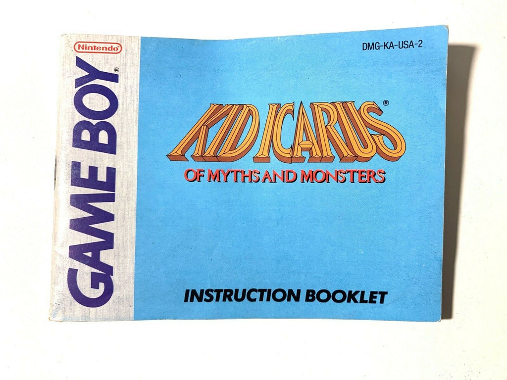 KID ICARUS OF MYTHS AND MONSTERS Nintendo Game Boy w/ Instruction Manual VG!