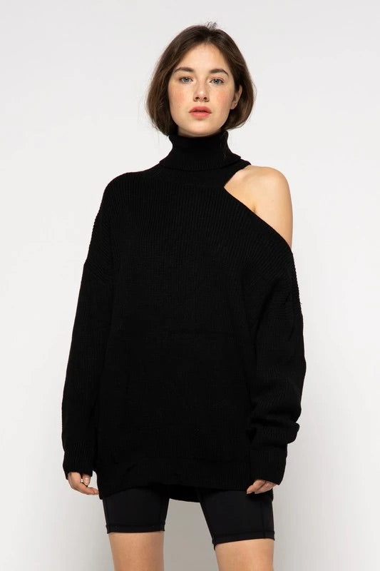Turtleneck Sweater with cutout Shoulder