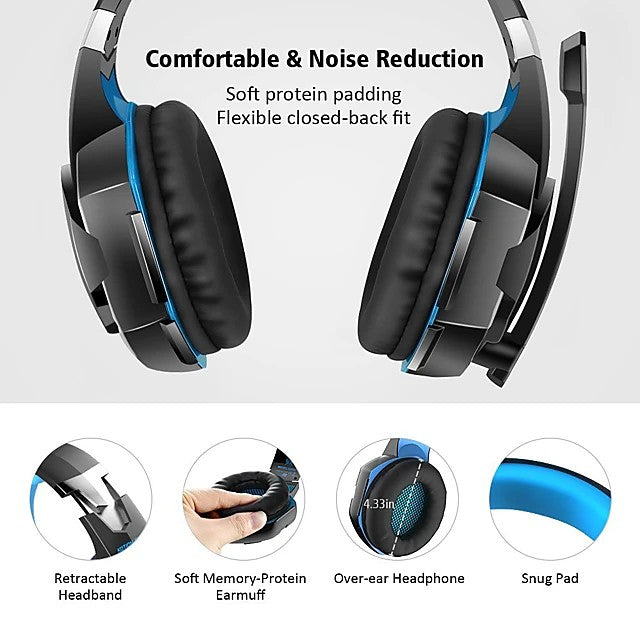 KOTION EACH G2000 Gaming Headset 7.1 Channel Sound Bass Headphones LED Microphone Inline Control Package with Headphone and Mic Adapter for Desktop Computer - Edolatry
