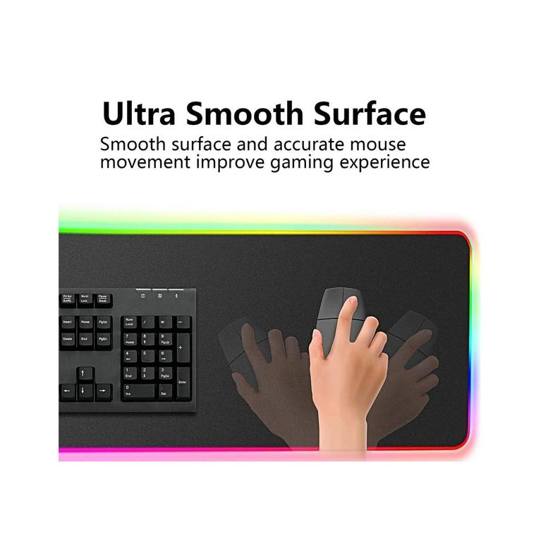 RGB Gaming Large Extended Soft Led Mouse Pad and Desk Pad with 14 Lighting Modes - Edolatry