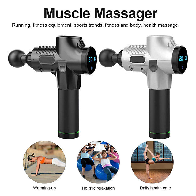 LITBest 6 in 1 Rechargeable 2400mAh Massage G un 6 Head 20 Speed Electric Body Massager with Adapter EM05 Wireless use for Muscle Tension Relief Men Sports Power light indicator Ergonomic Des