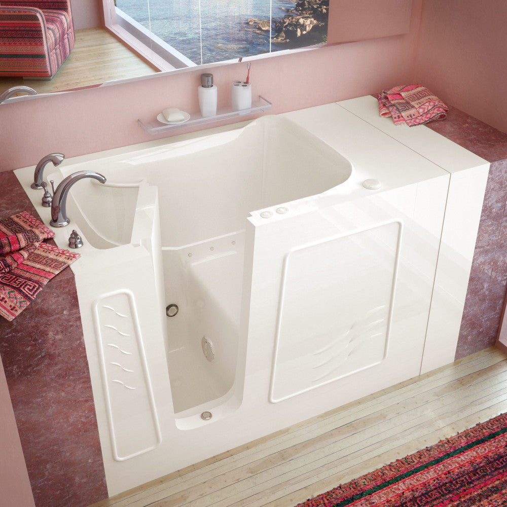 MediTub Walk-In 30 x 53 Walk-In Bathtub Air Jetted Biscuit Color Left Drain