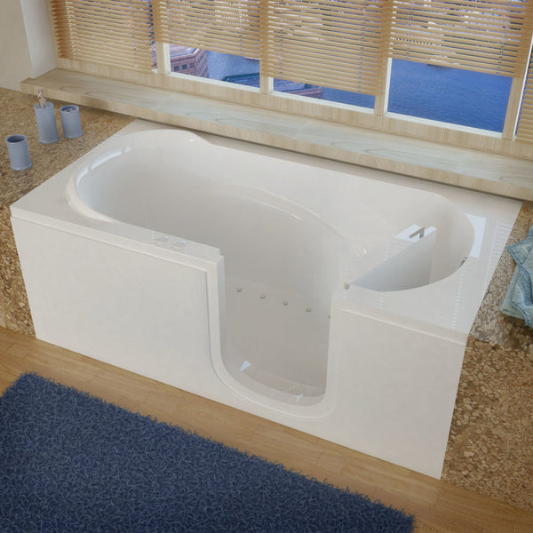 MediTub Step-In 30 x 60 Step-In Bathtub Air Jetted White Color Right Drain