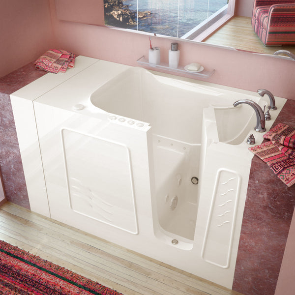 MediTub Walk-In 30 x 53 Walk-In Bathtub Whirlpool & Air Jetted Biscuit Color Right Drain