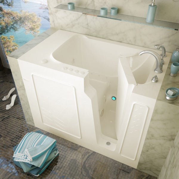 MediTub Walk-In 29 x 52 Walk-In Bathtub Whirlpool & Air Jetted Biscuit Color Right Drain
