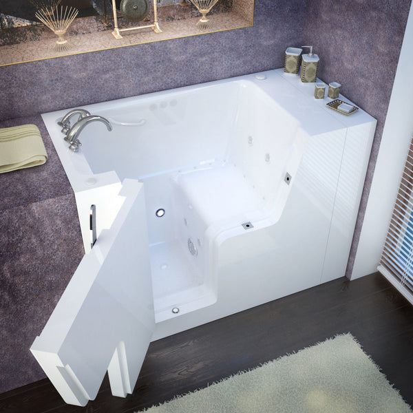 MediTub Wheel Chair Accessible 29 x 53 Wheelchair Accessible Bathtub Whirlpool & Air Jetted White Color Left Drain