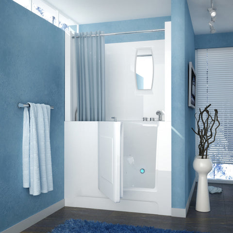 MediTub Walk-In 27 x 47 Walk-In Bathtub Air Jetted White Color Right Drain