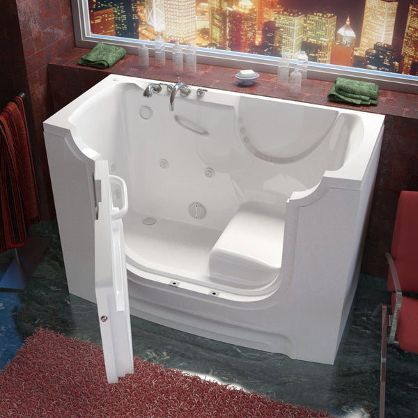 MediTub Wheel Chair Accessible 30 x 60 Wheelchair Accessible Bathtub Whirlpool Jetted White Color Left Drain