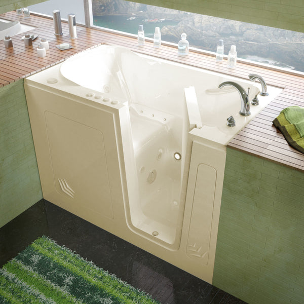 MediTub Walk-In 30 x 54 Walk-In Bathtub Whirlpool & Air Jetted Biscuit Color Right Drain