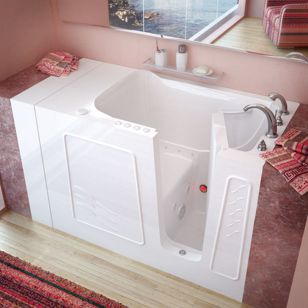MediTub Walk-In 30 x 53 Walk-In Bathtub Whirlpool & Air Jetted White Color Right Drain