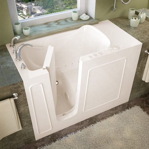 MediTub Walk-In 26 x 53 Walk-In Bathtub Air Jetted Biscuit Color Left Drain