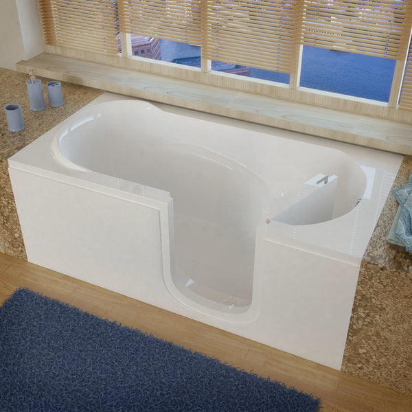 MediTub Step-In 30 x 60 Step-In Bathtub Soaking White Color Right Drain