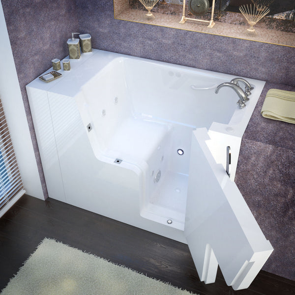 MediTub Wheel Chair Accessible 29 x 53 Wheelchair Accessible Bathtub Whirlpool Jetted White Color Right Drain