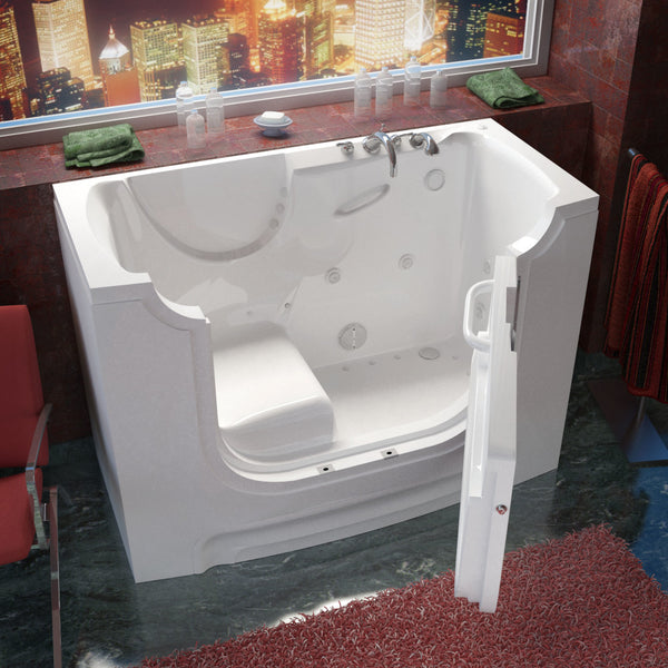 MediTub Wheel Chair Accessible 30 x 60 Wheelchair Accessible Bathtub Whirlpool & Air Jetted White Color Right Drain