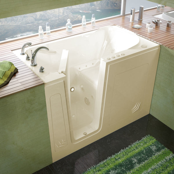 MediTub Walk-In 30 x 54 Walk-In Bathtub Whirlpool & Air Jetted Biscuit Color Left Drain