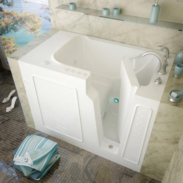 MediTub Walk-In 29 x 52 Walk-In Bathtub Whirlpool & Air Jetted White Color Right Drain