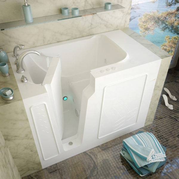 MediTub Walk-In 29 x 52 Walk-In Bathtub Whirlpool Jetted White Color Left Drain