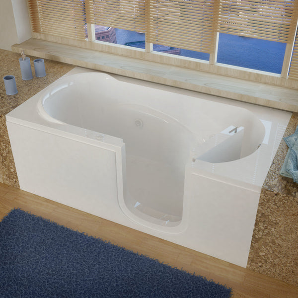 MediTub Step-In 30 x 60 Step-In Bathtub Whirlpool Jetted White Color Right Drain