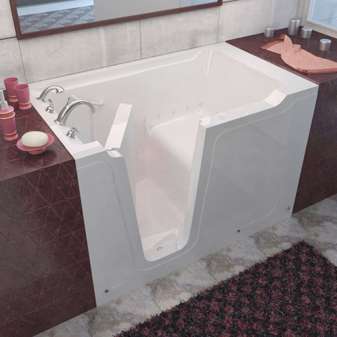 MediTub Walk-In 36 x 60 Walk-In Bathtub Air Jetted White Color Left Drain