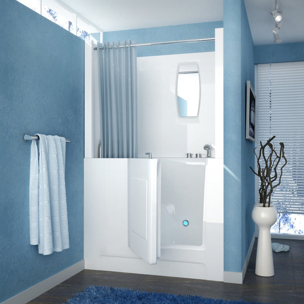 MediTub Walk-In 27 x 47 Walk-In Bathtub Soaking White Color Right Drain