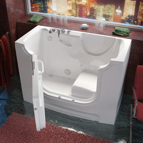MediTub Wheel Chair Accessible 30 x 60 Wheelchair Accessible Bathtub Air Jetted White Color Left Drain