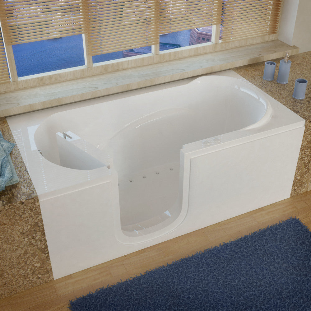 MediTub Step-In 30 x 60 Step-In Bathtub Air Jetted White Color Left Drain