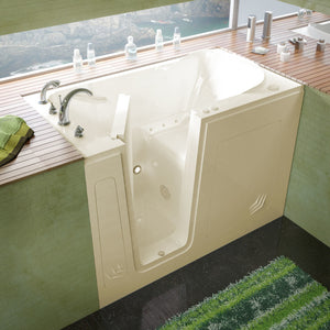 MediTub Walk-In 30 x 54 Walk-In Bathtub Air Jetted Biscuit Color Left Drain