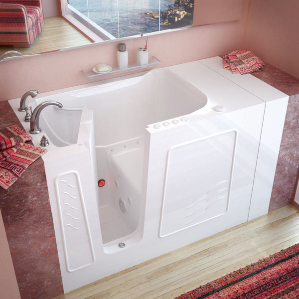 MediTub Walk-In 30 x 53 Walk-In Bathtub Whirlpool & Air Jetted White Color Left Drain