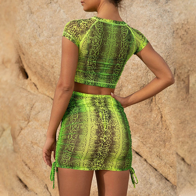 Women Sexy Snake Print 2-Piece Set