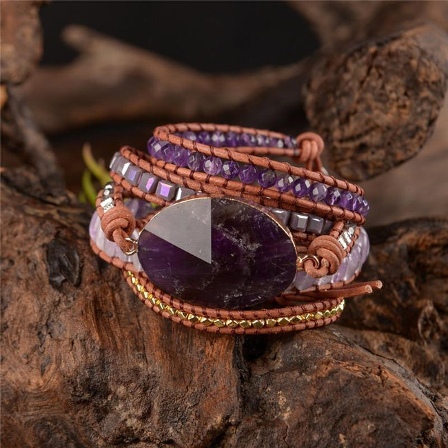 Inner Peace Amethyst Leather Wrap Bracelet