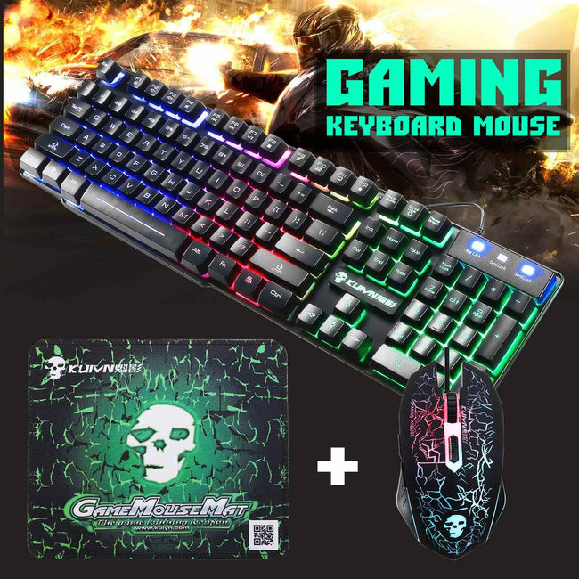 LED Ergonomic Gaming Keyboard with Mouse