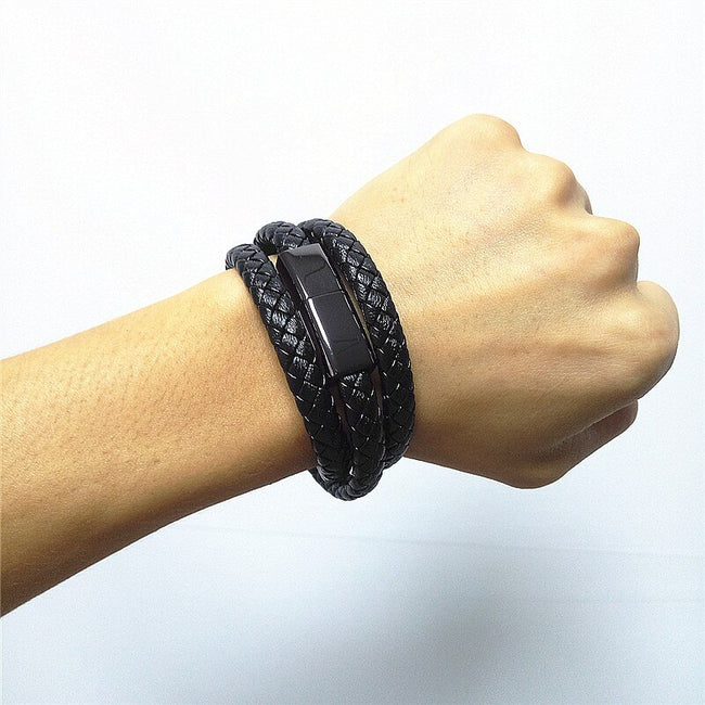 Leather Braided Phone Charging Bracelet