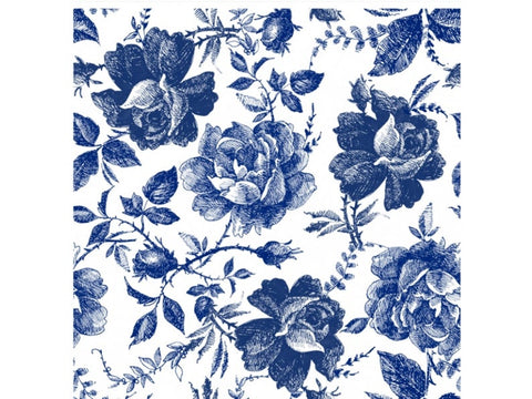 Blue Sketched Flowers Rice Decoupage papers
