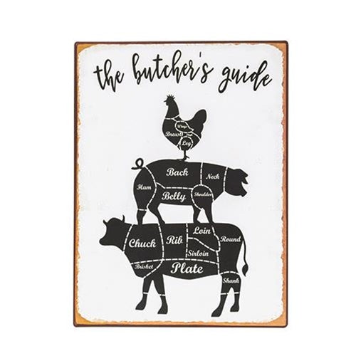 Butcher's Guide Distressed Metal Sign
